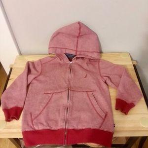 Nautica Boy size S/8 Red & White Zip Hoodie Jacket